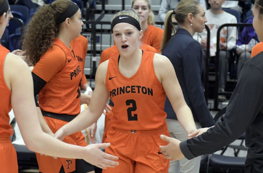 WASHINGTON, DC - NOVEMBER 10: Carlie Littlefield #2 of the Princeton Tigers is introduced before a women's basketball game against the George Washington Colonials at the Smith Center on November 102019 in Washington, DC. (Photo by Mitchell Layton/Getty Images)
