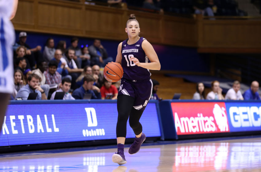 DURHAM, NC - NOVEMBER 17: Lindsey Pulliam #10 of Northwestern University brings the ball up the court during a game between Northwestern University and Duke University at Cameron Indoor Stadium on November 17, 2019 in Durham, North Carolina. (Photo by Andy Mead/ISI Photos/Getty Images)