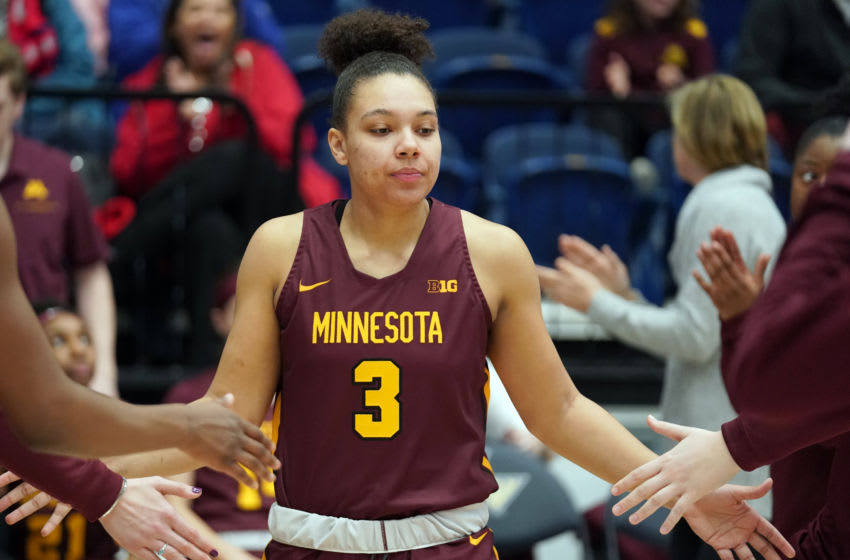 WASHINGTON, DC - DECEMBER 10: Destiny Pitts #3 of the Minnesota Golden Gophers is introduced before a women's college basketball game against the George Washington Colonials at the Smith Center on December 10, 2019 in Washington, DC. (Photo by Mitchell Layton/Getty Images)