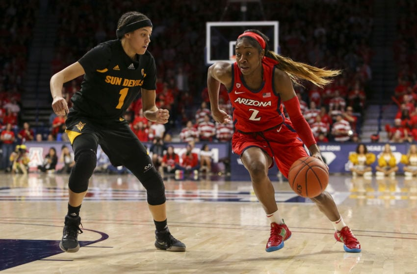 TUCSON, AZ - JANUARY 24: Arizona Wildcats guard Aarion McDonald (2) tries to dribble the ball past Arizona State Sun Devils guard Reili Richardson (1) during a college women's basketball game between the Arizona State Sun Devils and the Arizona Wildcats on January 24, 2020, at McKale Center in Tucson, AZ. (Photo by Jacob Snow/Icon Sportswire via Getty Images)