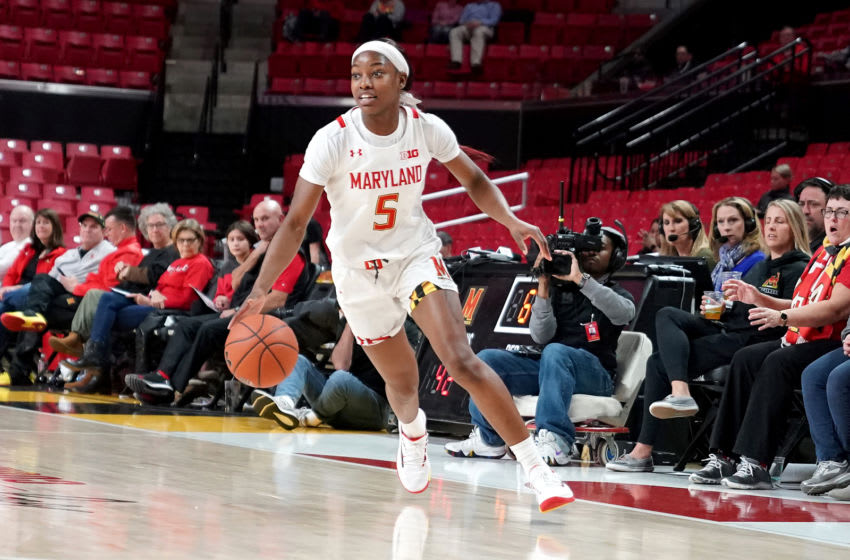 COLLEGE PARK, MD - JANUARY 06: Kaila Charles #5 of the Maryland Terrapins dribbles the ball during a women's college basketball game against the Ohio State Buckeyes at the Xfinity Center on January 6, 2020 in College Park, Maryland. (Photo by Mitchell Layton/Getty Images)
