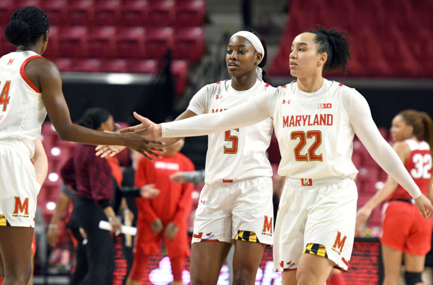 COLLEGE PARK, MD - JANUARY 06: Kaila Charles #5 and Blair Watson #22 of the Maryland Terrapins celebrate a shot during a women's college basketball game against the Ohio State Buckeyes at the Xfinity Center on January 6, 2020 in College Park, Maryland. (Photo by Mitchell Layton/Getty Images)