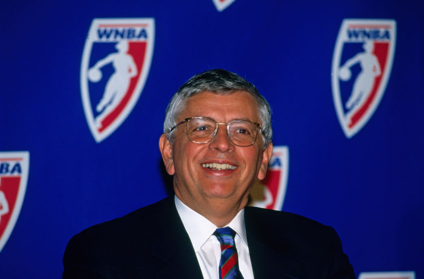 NEW YORK CITY - OCTOBER 30: NBA Commisioner David Stern speaks to the media as the WNBA announced during a press conference that eight teams will will compete in the inaugural season of the WNBA on October 30, 1996 in New York City. NOTE TO USER: User expressly acknowledges and agrees that, by downloading and or using this photograph, User is consenting to the terms and conditions of the Getty Images License Agreement. Mandatory Copyright Notice: Copyright 1996 NBAE (Photo by Steven Freeman/NBAE via Getty Images)