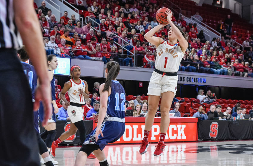 RALEIGH, NC - MARCH 23: NC State Wolfpack guard Aislinn Konig (1) with the short jumper during the 2019 Div 1 Women's Championship - First Round college basketball game between the Maine Black Bears and NC State Wolfpack on March 23, 2019, at Reynolds Coliseum in Raleigh, NC. (Photo by Michael Berg/Icon Sportswire via Getty Images)