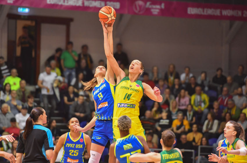 SOPRON, HUNGARY - APRIL 14: Marija Rezan of Praha and Bernadett Hatar of Sopron during the Euro League Women 3rd place match between Sopron Basket and ZVVZ USK Praha at Novomatic Arena on April 14, 2019 in Sopron, Hungary. (Photo by Andrea Kareth /SEPA.Media /Getty Images)