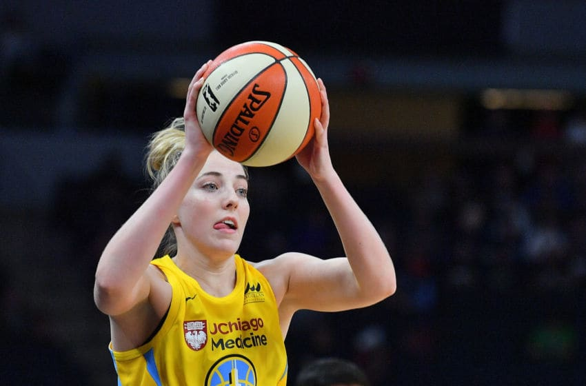MINNEAPOLIS, MINNESOTA - MAY 25: Katie Lou Samuelson #33 of the Chicago Sky looks to pass during her team's game against the Minnesota Lynx at Target Center on May 25, 2019 in Minneapolis, Minnesota. NOTE TO USER: User expressly acknowledges and agrees that, by downloading and or using this photograph, User is consenting to the terms and conditions of the Getty Images License Agreement. (Photo by Sam Wasson/Getty Images)