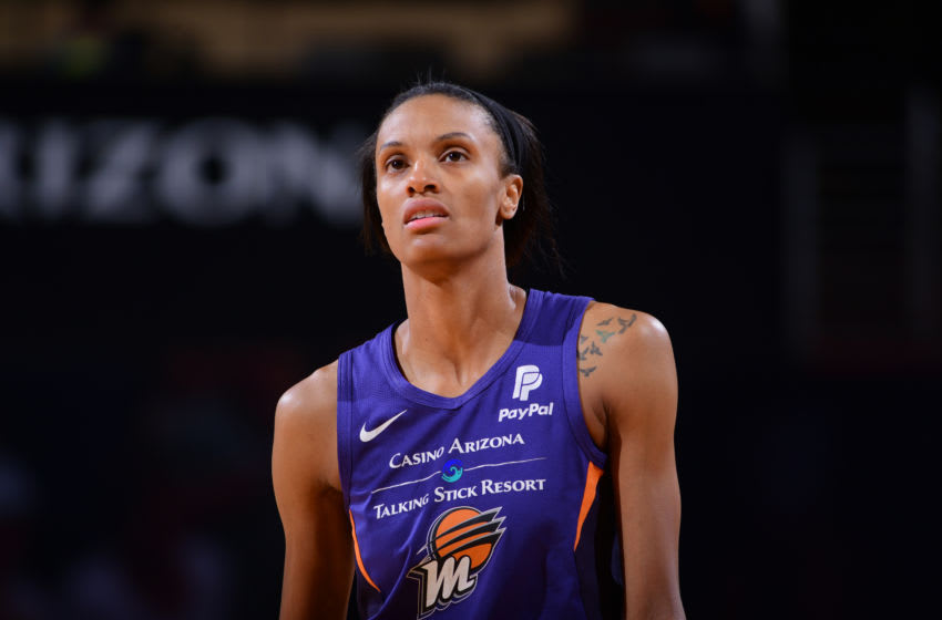 PHOENIX, AZ- AUGUST 18: DeWanna Bonner #24 of the Phoenix Mercury looks on during the game against the New York Liberty on August 18, 2019 at the Talking Stick Resort Arena, in Phoenix, Arizona. NOTE TO USER: User expressly acknowledges and agrees that, by downloading and or using this photograph, User is consenting to the terms and conditions of the Getty Images License Agreement. Mandatory Copyright Notice: Copyright 2019 NBAE (Photo by Michael Gonzales/NBAE via Getty Images)