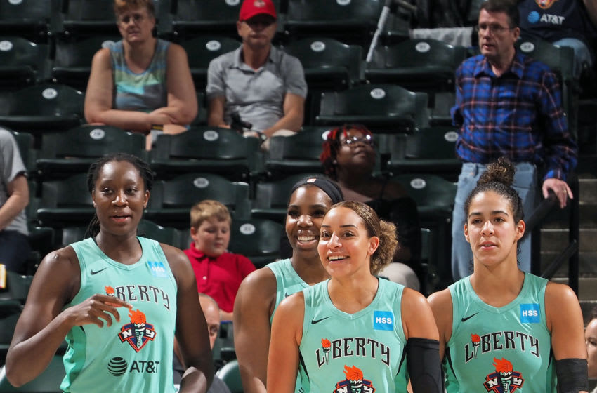 INDIANAPOLIS, IN - AUGUST 20: Tina Charles #31, Reshanda Gray #12, Bria Hartley #14, and Kia Nurse #5 of the New York Liberty look on during the game against the Indiana Fever on August 20, 2019 at the Bankers Life Fieldhouse in Indianapolis, Indiana. NOTE TO USER: User expressly acknowledges and agrees that, by downloading and or using this photograph, User is consenting to the terms and conditions of the Getty Images License Agreement. Mandatory Copyright Notice: Copyright 2019 NBAE (Photo by Ron Hoskins/NBAE via Getty Images)