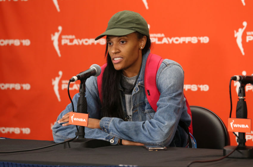 CHICAGO, IL - SEPTEMBER 11: DeWanna Bonner #24 of the Phoenix Mercury speaks to the media after the game against the Chicago Sky during Round One of the WNBA Playoffs on September 11, 2019 at Wintrust Arena in Chicago, Illinois. NOTE TO USER: User expressly acknowledges and agrees that, by downloading and/or using this photograph, user is consenting to the terms and conditions of the Getty Images License Agreement. Mandatory Copyright Notice: Copyright 2019 NBAE (Photo by Gary Dineen/NBAE via Getty Images)