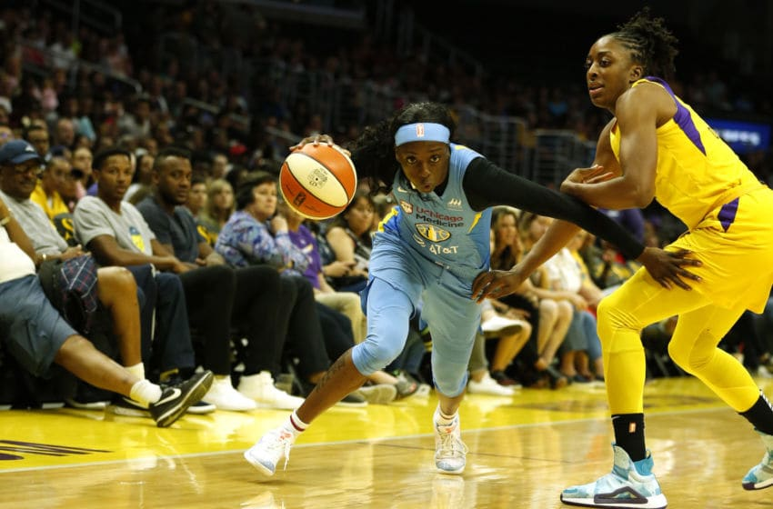 LOS ANGELES, CALIFORNIA - AUGUST 11: Guard Kahleah Copper #2 of the Chicago Sky drives around forward Nneka Ogwumike #30 of the Los Angeles Sparks during a game at Staples Center on August 11, 2019 in Los Angeles, California. NOTE TO USER: User expressly acknowledges and agrees that, by downloading and or using this photograph, User is consenting to the terms and conditions of the Getty Images License Agreement. (Photo by Katharine Lotze/Getty Images)