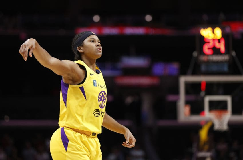 LOS ANGELES, CALIFORNIA - AUGUST 08: Guard Tierra Ruffin-Pratt #10 of the Los Angeles Sparks watches after taking a shot in the game against the Phoenix Mercury at Staples Center on August 08, 2019 in Los Angeles, California. NOTE TO USER: User expressly acknowledges and agrees that, by downloading and or using this photograph, User is consenting to the terms and conditions of the Getty Images License Agreement. (Photo by Meg Oliphant/Getty Images)