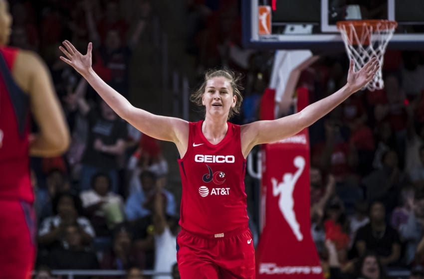 WASHINGTON, DC - SEPTEMBER 19: Emma Meesseman #33 of the Washington Mystics reacts to a play against the Las Vegas Aces during the second half of Game Two of the 2019 WNBA playoffs at St Elizabeths East Entertainment & Sports Arena on September 19, 2019 in Washington, DC. NOTE TO USER: User expressly acknowledges and agrees that, by downloading and or using this photograph, User is consenting to the terms and conditions of the Getty Images License Agreement. (Photo by Scott Taetsch/Getty Images)