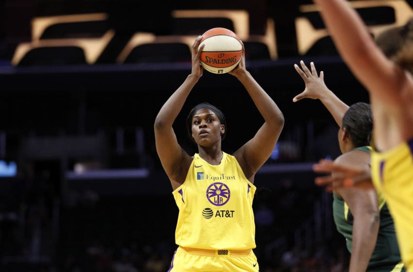 LOS ANGELES, CALIFORNIA - SEPTEMBER 05: Center Kalani Brown #21 of the Los Angeles Sparks takes a shot in the game against the Seattle Storm at Staples Center on September 05, 2019 in Los Angeles, California. NOTE TO USER: User expressly acknowledges and agrees that, by downloading and or using this photograph, User is consenting to the terms and conditions of the Getty Images License Agreement. (Photo by Meg Oliphant/Getty Images)