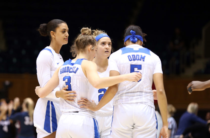 DURHAM, NC - NOVEMBER 29: Haley Gorecki #2 of Duke University huddles with her teammates during a game between Penn and Duke at Cameron Indoor Stadium on November 29, 2019 in Durham, North Carolina. (Photo by Andy Mead/ISI Photos/Getty Images)