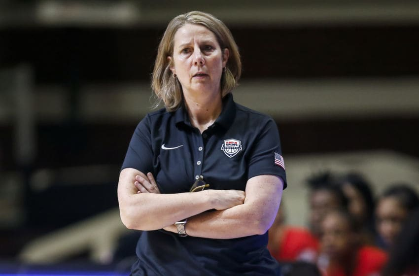 BELGRADE, SERBIA - FEBRUARY 09: Head coach Cheryl Reeve of USA in looks on during the FIBA Women's Olympic Qualifying Tournament 2020 Group B match between Nigeria and USA at Aleksandar Nikolic Hall on February 9, 2020 in Belgrade, Serbia. (Photo by Srdjan Stevanovic/Getty Images)
