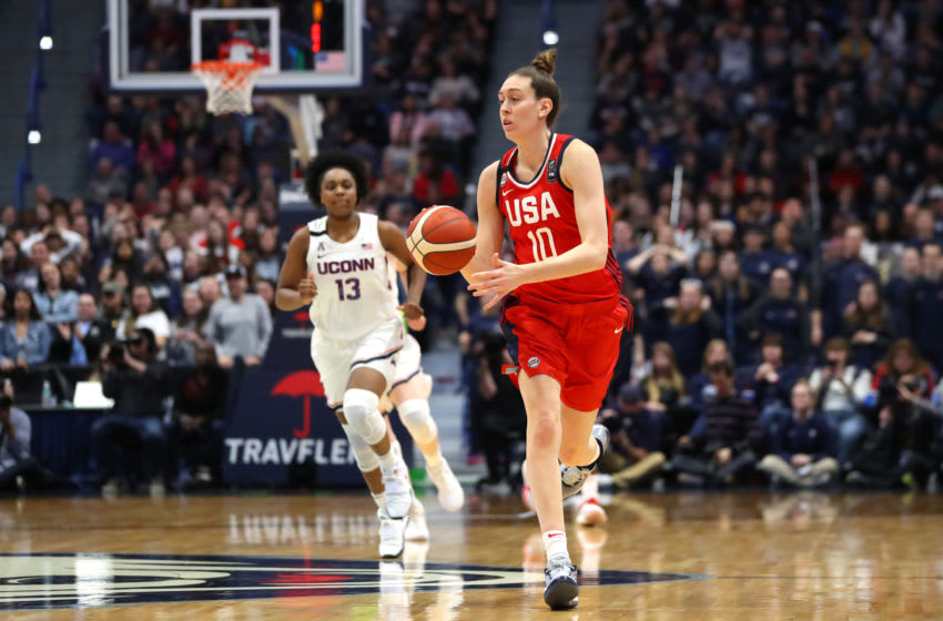 HARTFORD, CONNECTICUT - JANUARY 27: Breanna Stewart #10 of the United States dribbles downcourt during USA Women's National Team Winter Tour 2020 game between the United States and the UConn Huskies at The XL Center on January 27, 2020 in Hartford, Connecticut. (Photo by Maddie Meyer/Getty Images)