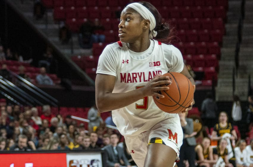 COLLEGE PARK, MD - FEBRUARY 13: Kaila Charles #5 of Maryland charges up court during a game between Iowa and Maryland at Xfinity Center on February 13, 2020 in College Park, Maryland. (Photo by Tony Quinn/ISI Photos/Getty Images)