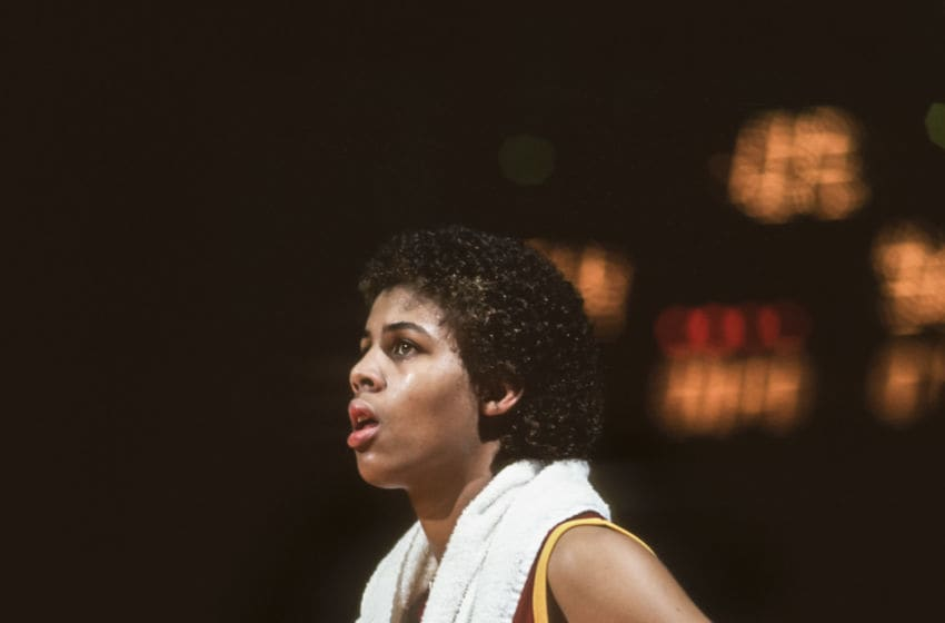 PALO ALTO, CA - FEBRUARY 1983: Cheryl Miller #31 of the USC Trojans watches from the sidelines during an NCAA women's basketball game against Stanford University played during February 1983 in Maples Pavilion at Stanford University in Palo Alto, California. (Photo by David Madison/Getty Images)