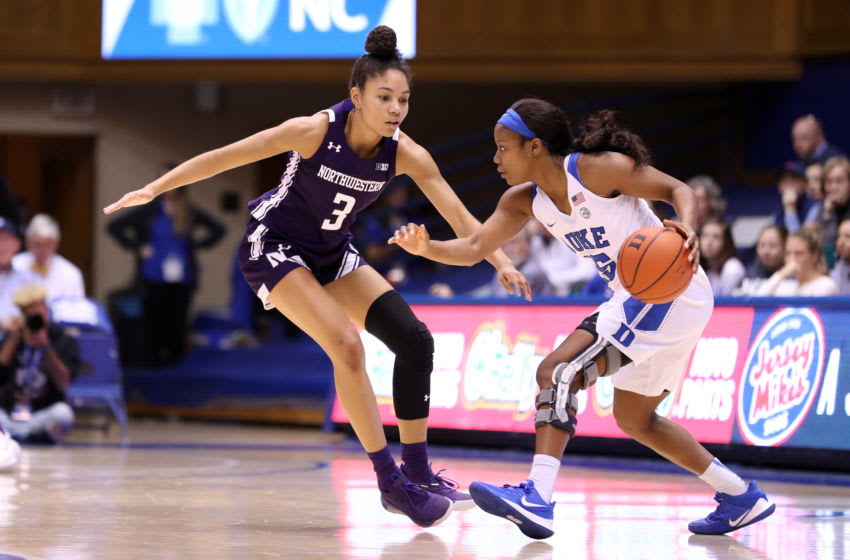 DURHAM, NC - NOVEMBER 17: Kyra Lambert #15 of Duke University is defended by Sydney Wood #3 of Northwestern University during a game between Northwestern University and Duke University at Cameron Indoor Stadium on November 17, 2019 in Durham, North Carolina. (Photo by Andy Mead/ISI Photos/Getty Images)