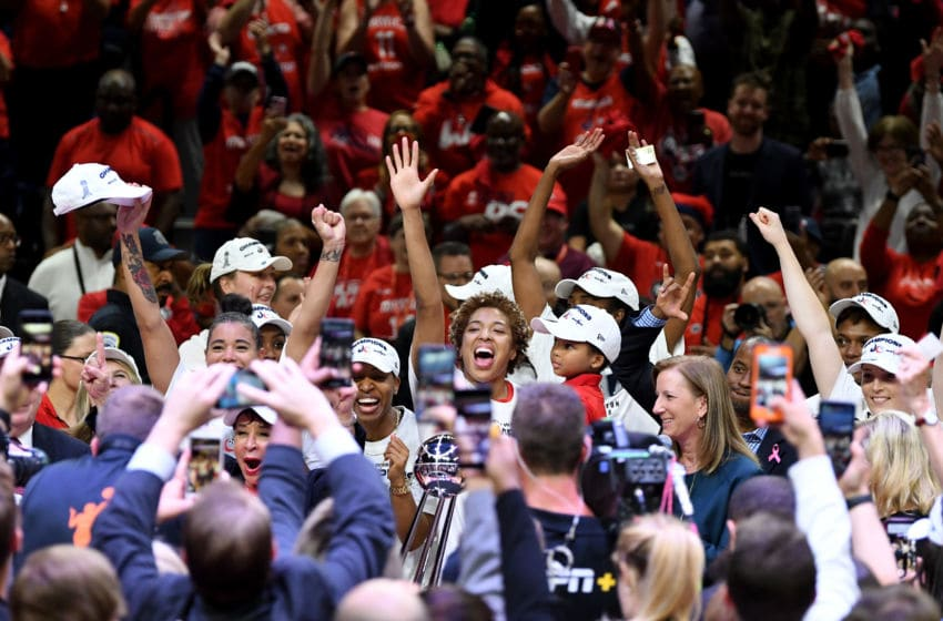 WASHINGTON, DC - OCTOBER 10: The Washington Mystics celebrate after winning the 2019 WNBA Championship against the Connecticut Sun at St Elizabeths East Entertainment & Sports Arena on October 10, 2019 in Washington, DC. (Photo by G Fiume/Getty Images)