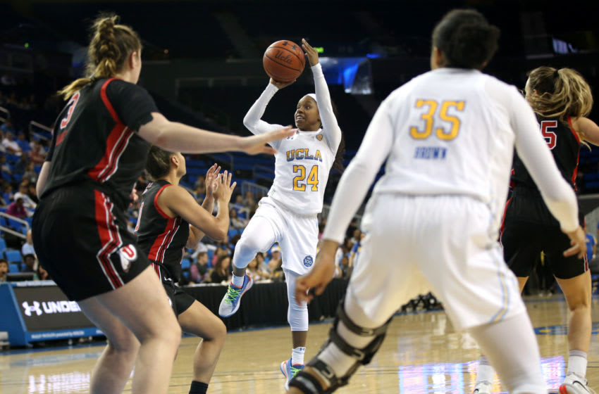 LOS ANGELES, CALIFORNIA - MARCH 01: Japreece Dean #24 of the UCLA Bruins shoots the ball during the fourth quarter against the Utah Utes at Pauley Pavilion on March 01, 2020 in Los Angeles, California. (Photo by Katharine Lotze/Getty Images)