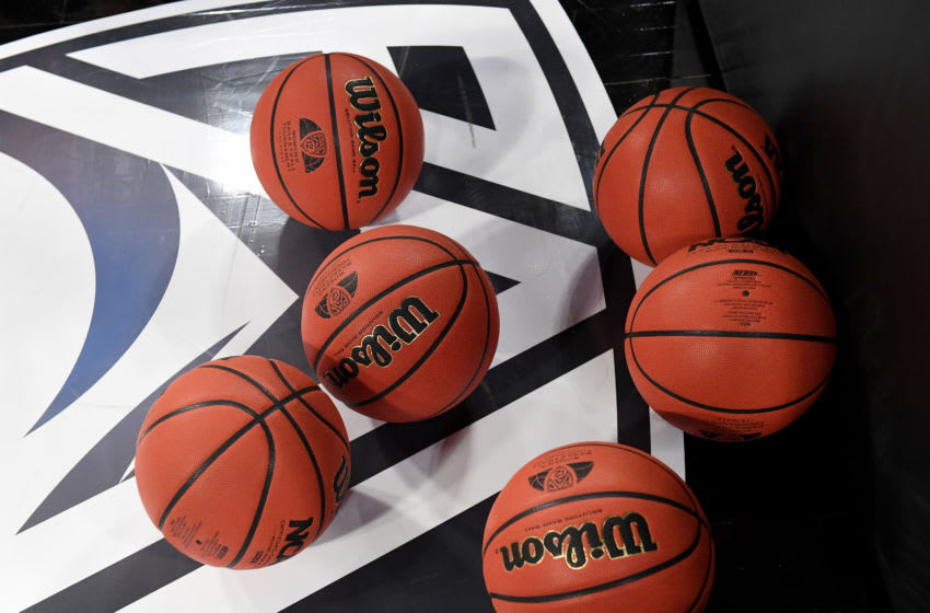 LAS VEGAS, NEVADA - MARCH 06: Basketballs are shown on the floor during warmups before a game between the Utah Utes and the Oregon Ducks during the Pac-12 Conference women's basketball tournament quarterfinals at the Mandalay Bay Events Center on March 6, 2020 in Las Vegas, Nevada. The Ducks defeated the Utes 79-59. (Photo by Ethan Miller/Getty Images)