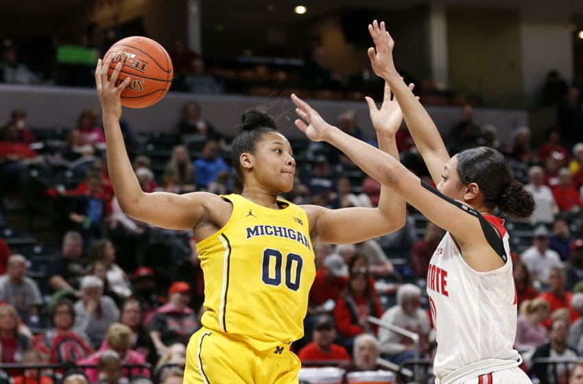 INDIANAPOLIS, INDIANA - MARCH 07: Naz Hillmon #00 of the Michigan Wolverines rebounds the ball in the game against the Ohio State Buckeyes during the second quarter at Bankers Life Fieldhouse on March 07, 2020 in Indianapolis, Indiana. (Photo by Justin Casterline/Getty Images)