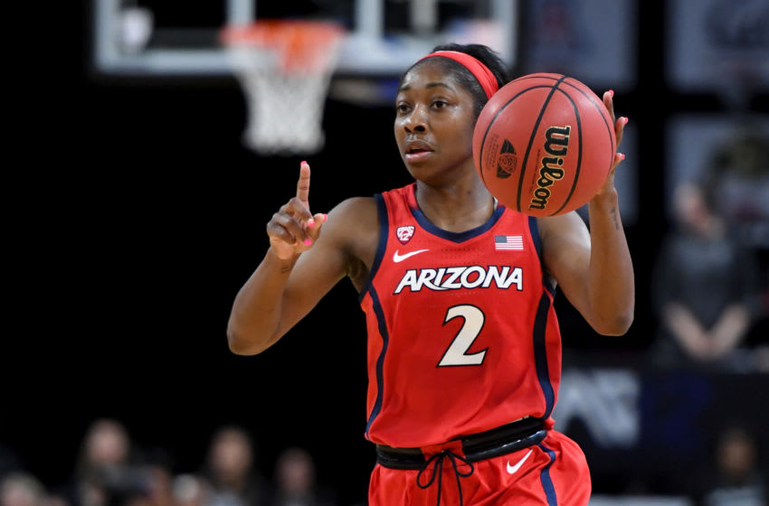 LAS VEGAS, NEVADA - MARCH 07: Aarion McDonald #2 of the Arizona Wildcats sets up a play against the Oregon Ducks during the Pac-12 Conference women's basketball tournament semifinals at the Mandalay Bay Events Center on March 7, 2020 in Las Vegas, Nevada. The Ducks defeated the Wildcats 88-70. (Photo by Ethan Miller/Getty Images)