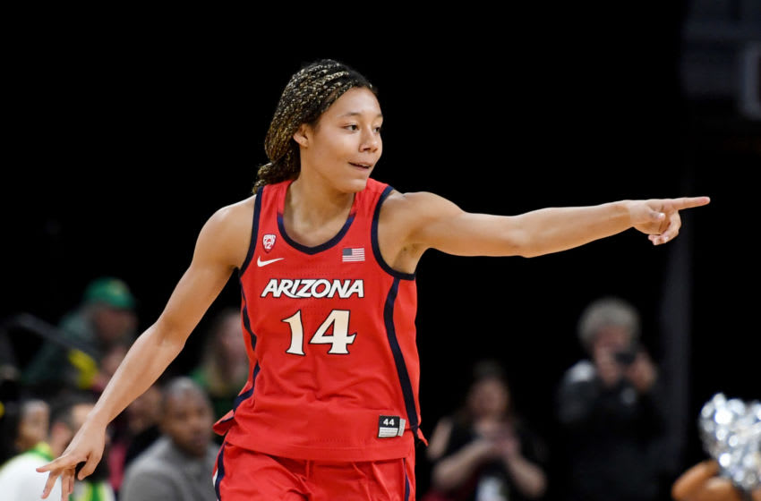 LAS VEGAS, NEVADA - MARCH 07: Sam Thomas #14 of the Arizona Wildcats points to a teammate after hitting a 3-pointer against the Oregon Ducks during the Pac-12 Conference women's basketball tournament semifinals at the Mandalay Bay Events Center on March 7, 2020 in Las Vegas, Nevada. The Ducks defeated the Wildcats 88-70. (Photo by Ethan Miller/Getty Images)