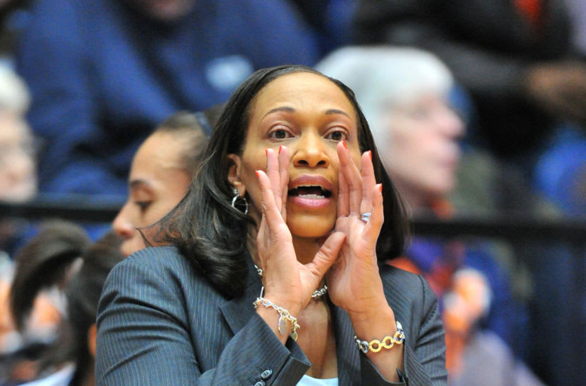 WASHINGTON, DC - DECEMBER 12: Head coach Terri Williams-Flournoy of the Auburn TIgers calls to her players during a women's college basketball game against the George Washington Colonials on December 12, 2012 at the Smith Center in Washington, DC. (Photo by Mitchell Layton/Getty Images)