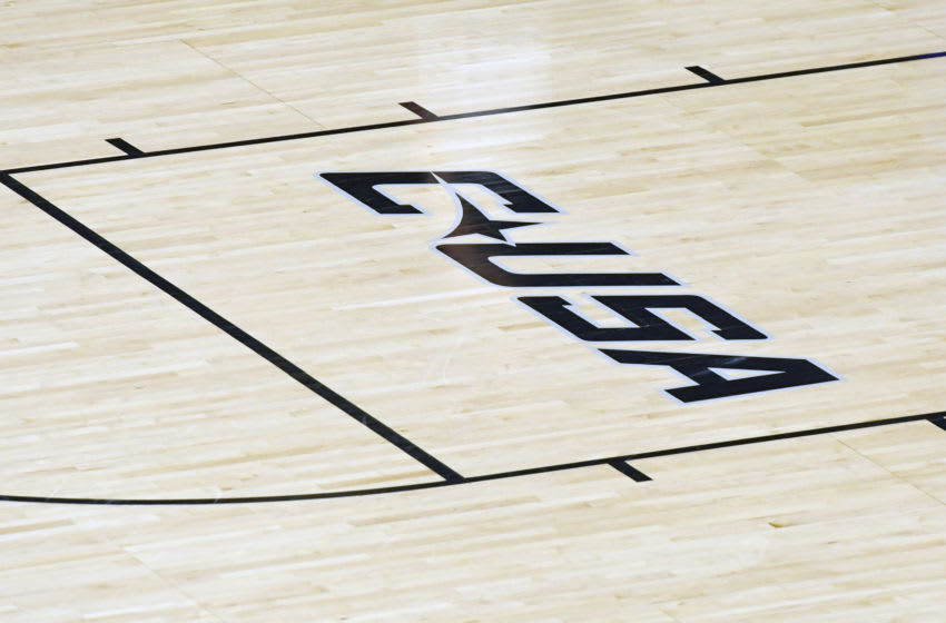 NORFOLK, VA - MARCH 06: The USA Conference logo on the floor before a college basketball game between the Old Dominion Monarchs and the Southern Miss Golden Eagles at the Ted Constant Convocation Center on March 6, 2019 in Norfolk, Virginia. (Photo by Mitchell Layton/Getty Images) *** Local Caption ***