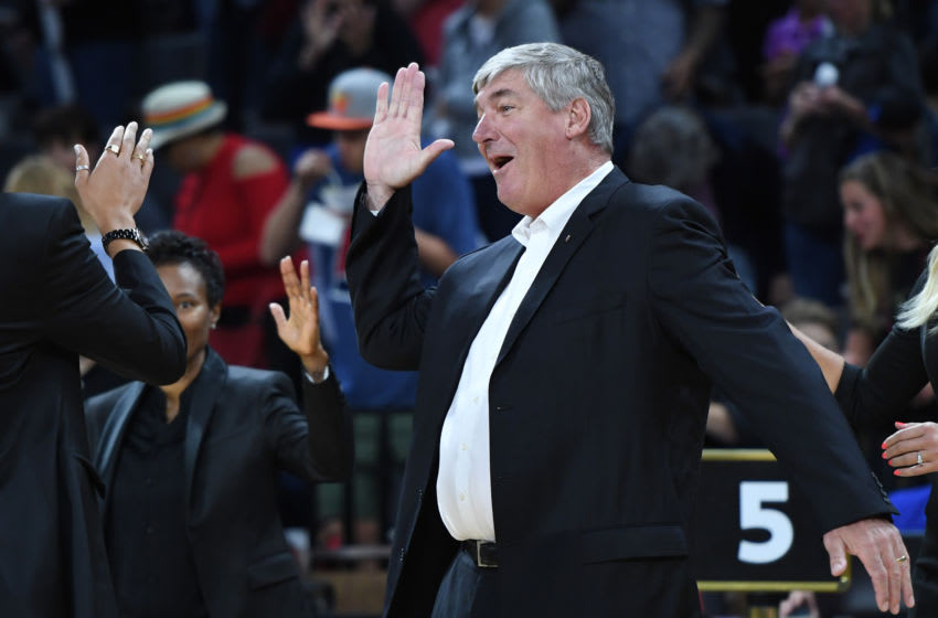 LAS VEGAS, NEVADA - MAY 26: Head coach Bill Laimbeer of the Las Vegas Aces high-fives his players before their game against the Los Angeles Sparks at the Mandalay Bay Events Center on May 26, 2019 in Las Vegas, Nevada. The Aces defeated the Sparks 83-70. NOTE TO USER: User expressly acknowledges and agrees that, by downloading and or using this photograph, User is consenting to the terms and conditions of the Getty Images License Agreement. (Photo by Ethan Miller/Getty Images )