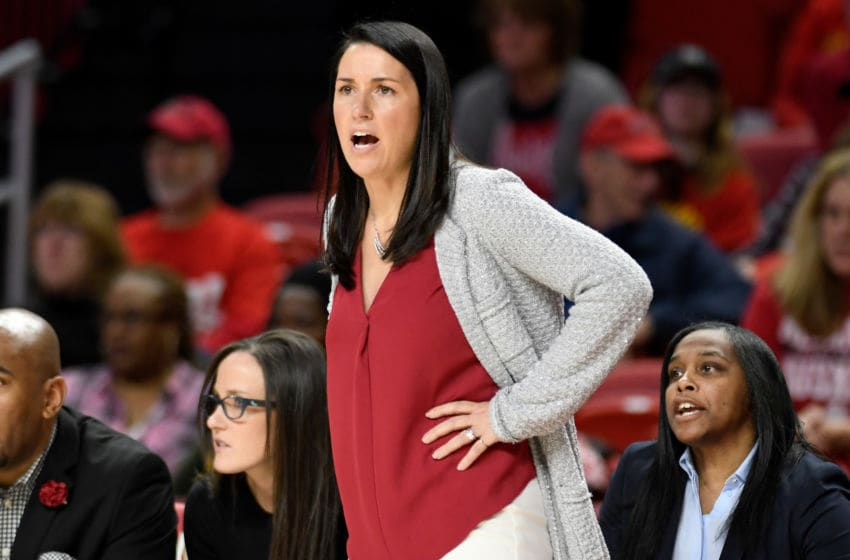 COLLEGE PARK, MD - JANUARY 16: Head Coach Amy Williams of the Nebraska Cornhuskers watches the game against the Maryland Terrapins at Xfinity Center on January 16, 2020 in College Park, Maryland. (Photo by G Fiume/Maryland Terrapins/Getty Images)