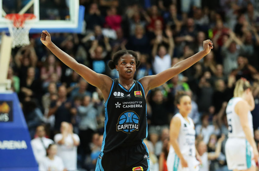 CANBERRA, AUSTRALIA - MARCH 04: Olivia Epoupa #0 of the Capitals celebrates winning game two of the WNBL Grand Final series between the University of Canberra Capitals and Southside Flyers at AIS Arena on March 04, 2020 in Canberra, Australia. (Photo by Mark Metcalfe/Getty Images)