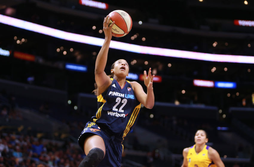 LOS ANGELES, CA - JULY 17: Erica McCall #22 of the Indiana Fever handles the ball against the Los Angeles Sparks during a WNBA basketball game at Staples Center on July 17, 2017 in Los Angeles, California. (Photo by Leon Bennett/Getty Images)