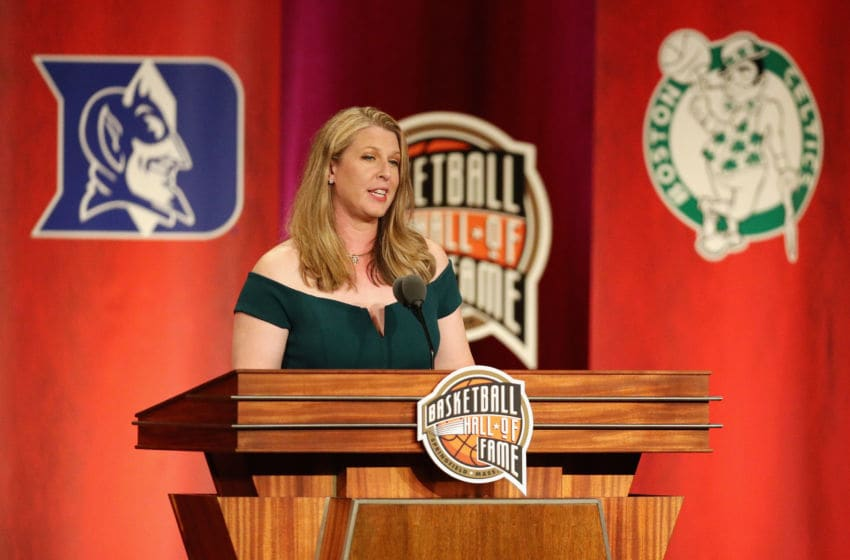 SPRINGFIELD, MA - SEPTEMBER 07: Naismith Memorial Basketball Hall of Fame Class of 2018 enshrinee Katie Smith speaks during the 2018 Basketball Hall of Fame Enshrinement Ceremony at Symphony Hall on September 7, 2018 in Springfield, Massachusetts. (Photo by Maddie Meyer/Getty Images)