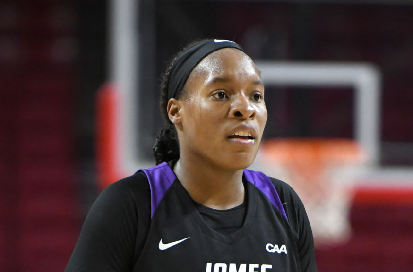 COLLEGE PARK, MD - DECEMBER 08: Kamiah Smalls #3 of the James Madison Dukes looks on during a women's college basketball game against the Maryland Terrapins at the Xfinity Center on December 8, 2018 in College Park, Maryland. (Photo by Mitchell Layton/Getty Images)