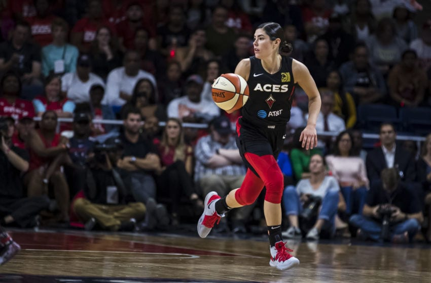 WASHINGTON, DC - SEPTEMBER 19: Kelsey Plum #10 of the Las Vegas Aces dribbles the ball against the Washington Mystics during the first half of Game Two of the 2019 WNBA playoffs at St Elizabeths East Entertainment & Sports Arena on September 19, 2019 in Washington, DC. NOTE TO USER: User expressly acknowledges and agrees that, by downloading and or using this photograph, User is consenting to the terms and conditions of the Getty Images License Agreement. (Photo by Scott Taetsch/Getty Images)