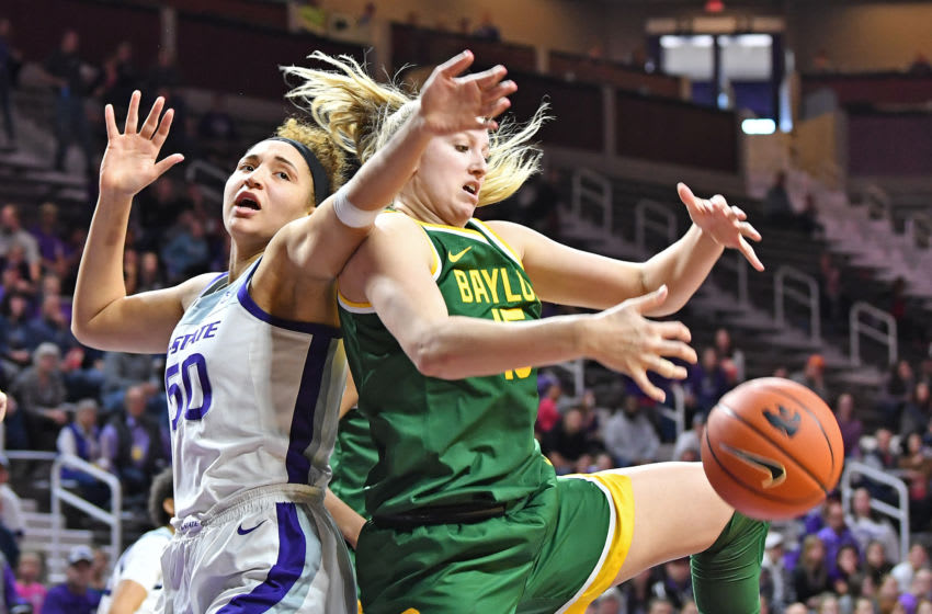 MANHATTAN, KS - FEBRUARY 08: Lauren Cox #15 of the Baylor Lady Bears goes for a loose ball against Ayoka Lee #50 of the Kansas State Wildcats during the second quarter on February 8, 2020 at Bramlage Coliseum in Manhattan, Kansas. (Photo by Peter G. Aiken/Getty Images)