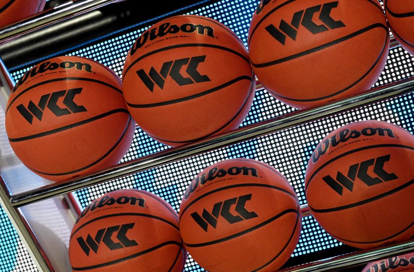 LAS VEGAS, NEVADA - MARCH 09: Basketballs are shown in a ball rack before a semifinal game of the West Coast Conference basketball tournament between the San Francisco Dons and the Gonzaga Bulldogs at the Orleans Arena on March 9, 2020 in Las Vegas, Nevada. (Photo by Ethan Miller/Getty Images)