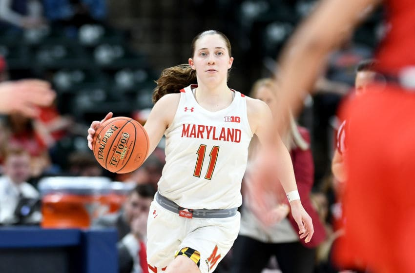 INDIANAPOLIS, IN - MARCH 08: Taylor Mikesell #11 of the Maryland Terrapins handles the ball against the Ohio State Buckeyes during the Championship game of Big Ten Women's Basketball Tournament at Bankers Life Fieldhouse on March 8, 2020 in Indianapolis, Indiana. (Photo by G Fiume/Maryland Terrapins/Getty Images)