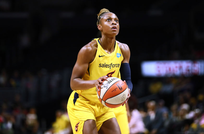 LOS ANGELES, CALIFORNIA - AUGUST 22: Tiffany Mitchell #3 of the Indiana Fever handles the ball against the Los Angeles Sparks during a WNBA basketball game at Staples Center on August 22, 2019 in Los Angeles, California. NOTE TO USER: User expressly acknowledges and agrees that, by downloading and or using this photograph, User is consenting to the terms and conditions of the Getty Images License Agreement. (Photo by Leon Bennett/Getty Images)