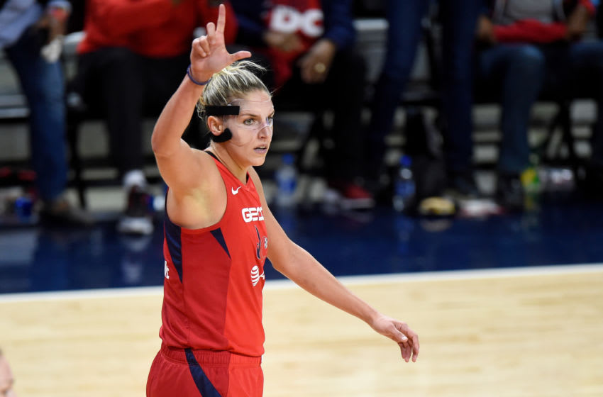 WASHINGTON, DC - OCTOBER 10: Elena Delle Donne #11 of the Washington Mystics celebrates during Game 5 of the 2019 WNBA Finals against the Connecticut Sun at St Elizabeths East Entertainment & Sports Arena on October 10, 2019 in Washington, DC. (Photo by G Fiume/Getty Images)