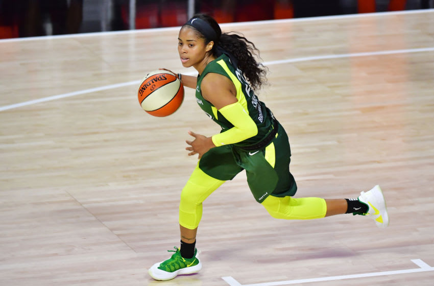 PALMETTO, FLORIDA - AUGUST 04: Jordin Canada #21 of the Seattle Storm dribbles up the court during the first half against the Connecticut Sun at Feld Entertainment Center on August 04, 2020 in Palmetto, Florida. NOTE TO USER: User expressly acknowledges and agrees that, by downloading and or using this photograph, User is consenting to the terms and conditions of the Getty Images License Agreement. (Photo by Julio Aguilar/Getty Images)