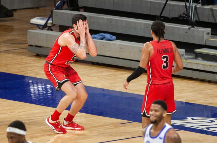 Illinois State's Dusan Mahorcic reacts to a fumble during a Drake University vs. Illinois State game on Jan. 31, 2021. The Bulldogs won 78-76 in an overtime victory against Illinois State, making 16-0 for the season.