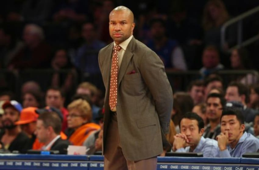 Oct 13, 2014; New York, NY, USA; New York Knicks head coach Derek Fisher during the second quarter against the Toronto Raptors at Madison Square Garden. Mandatory Credit: Brad Penner-USA TODAY Sports