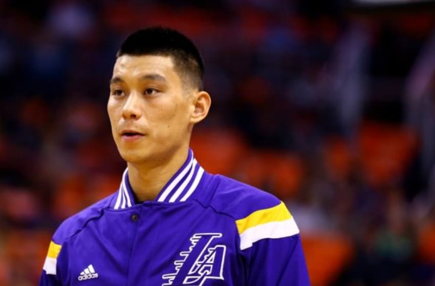 Oct 29, 2014; Phoenix, AZ, USA; Los Angeles Lakers guard Jeremy Lin (17) against the Phoenix Suns during the home opener at US Airways Center. The Suns defeated the Lakers 119-99. Mandatory Credit: Mark J. Rebilas-USA TODAY Sports