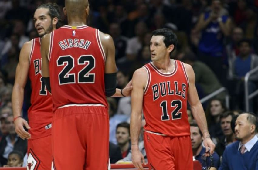 Nov 17, 2014; Los Angeles, CA, USA; Chicago Bulls guard Kirk Hinrich (12) reacts after a foul is called on him during the third quarter against the Los Angeles Clippers at Staples Center. The Chicago Bulls defeated the Los Angeles Clippers 105-89. Mandatory Credit: Kelvin Kuo-USA TODAY Sports