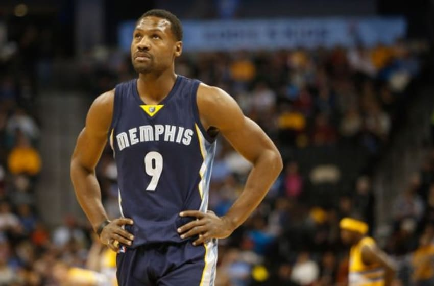 Jan 3, 2015; Denver, CO, USA; Memphis Grizzlies guard Tony Allen (9) during the game against the Denver Nuggets at Pepsi Center. Mandatory Credit: Chris Humphreys-USA TODAY Sports