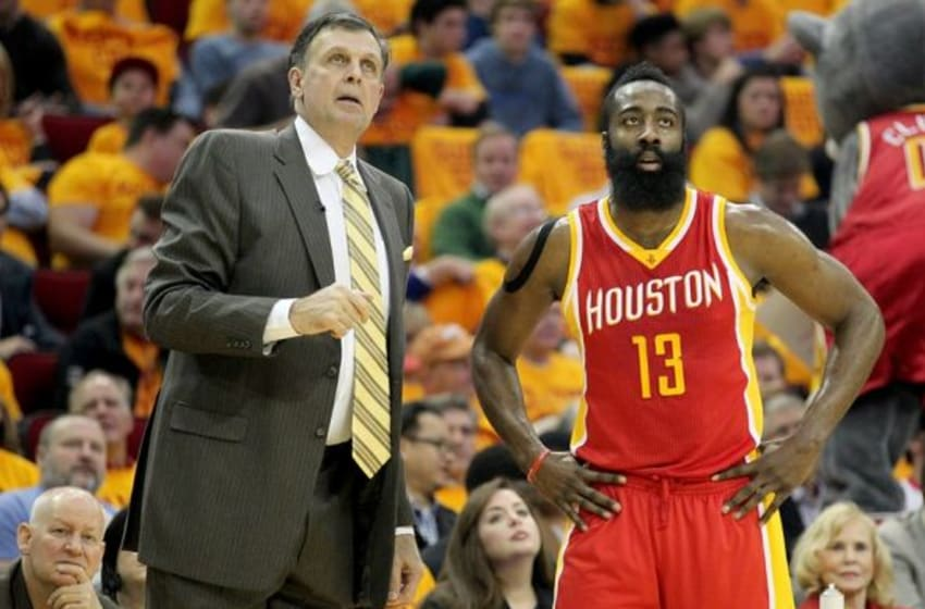 Jan 15, 2015; Houston, TX, USA; Houston Rockets head coach Kevin McHale (L) talks to guard James Harden (13) against the Oklahoma City Thunder in the first quarter at Toyota Center. Mandatory Credit: Thomas B. Shea-USA TODAY Sports